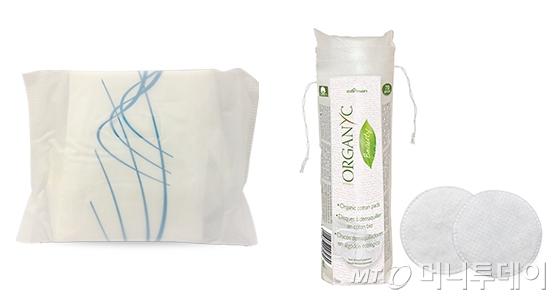 생분해되는 '마터비 비닐'로 포장된 생리대와 화장솜/사진제공=콜만