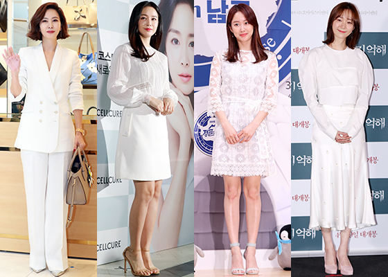 화사한 화이트 패션을 선보인 배우 김남주, 김태희, 전혜빈, 이유영/사진=머니투데이 DB