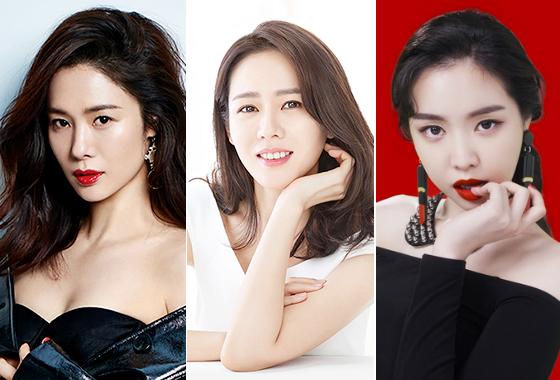 왼쪽부터 배우 김현주, 손예진, 그룹 에이핑크 손나은. /사진제공=코스모폴리탄, 바나브, 슈에무라