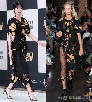 서예지 vs 모델, 시스루 플로럴 드레스…