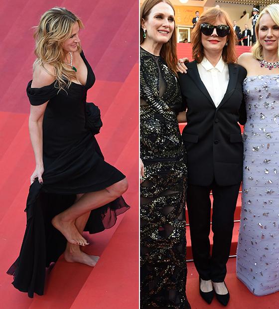 2016년 맨발로 칸 레드카펫을 밟은 배우 줄리아 로버츠(왼쪽), 턱시도를 입고 플랫슈즈를 신은 수잔 서랜든. /AFPBBNews=뉴스1