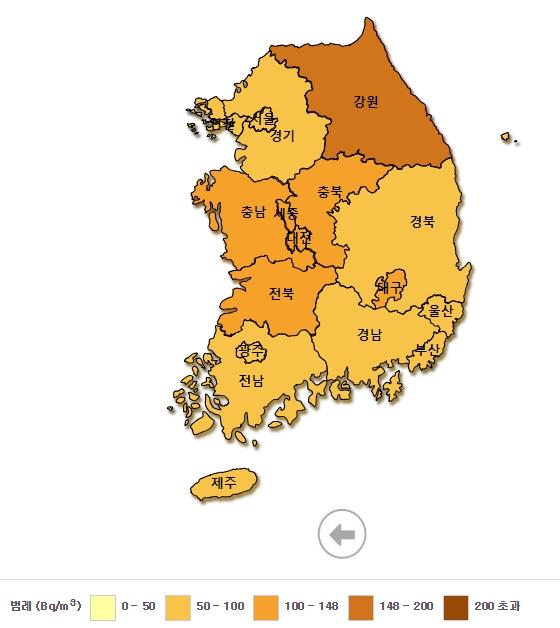 2016년 전국 주택 실내 라돈지도. /자료제공=환경부