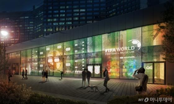 '2018 FIFA 러시아 월드컵' 기간 동안 현대 모터스튜디오 모스크바 건물 외관 벽면에 조성될 경기 대진표 파사드/사진제공=현대차