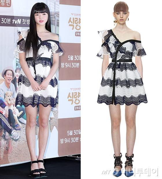 오마이걸 유아(왼쪽)와 모델. /사진=김창현 기자
