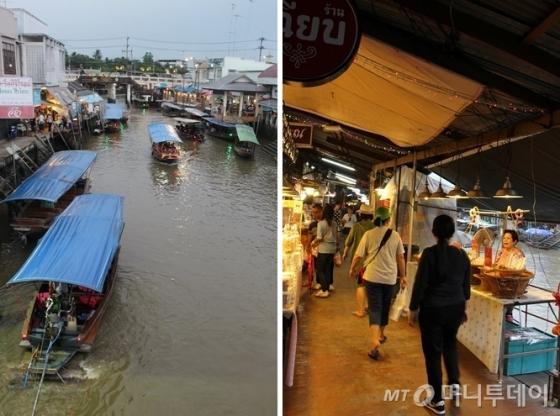 태국 방콕시 인근 암파와 수상시장은 주말(금~일) 야시장으로 운영된다. 강변을 따라 태국 전통 목조 가옥이 잘 보존된 것이 특징이다. 배를 타고 이동하면서 물건을 살 수 있고(왼쪽), 강변을 따라 상점을 이용할 수 있도 있다.(오른쪽)  /사진=진달래 기자