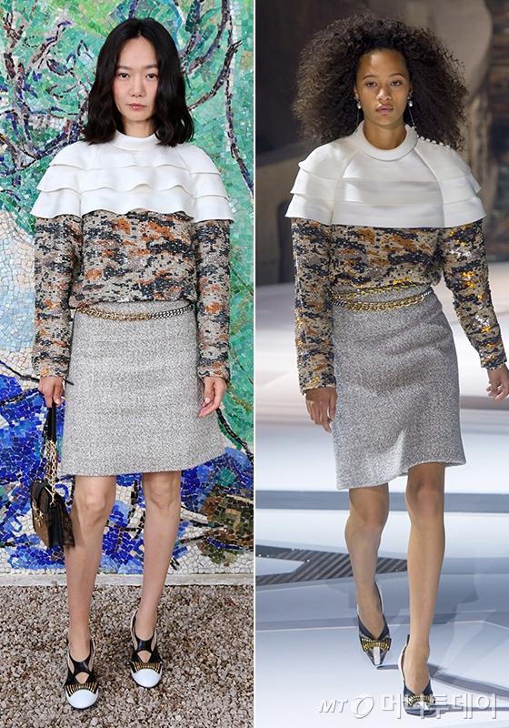 배우 배두나(왼쪽)와 루이비통 2018 F/W 컬렉션 쇼에 선 모델./사진제공=루이비통