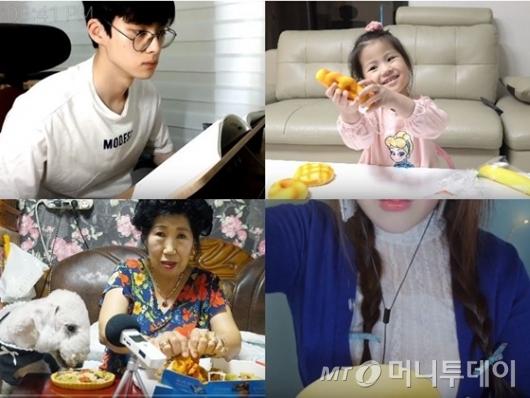 (왼쪽 위부터 시계방향으로) 유튜버 봇노잼, 신서은양, 뽀모, 박막례씨. /사진=유튜브 각 채널 영상 갈무리
