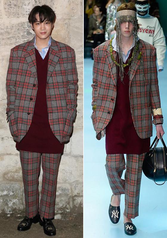 구찌 2018 F/W Menswear 컬렉션 의상을 입은 그룹 엑소 카이/사진제공=구찌(Gucci)