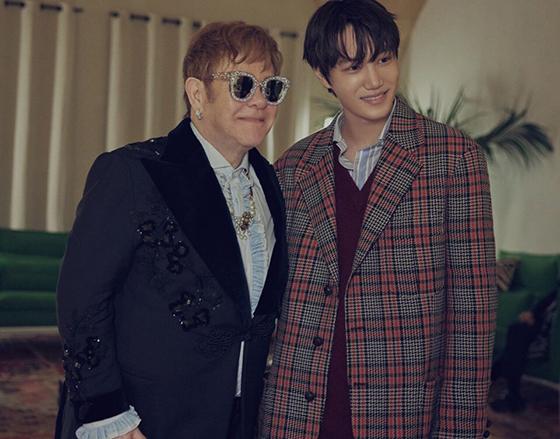 가수 엘튼 존과 그룹 엑소 카이./사진제공=구찌(Gucci)