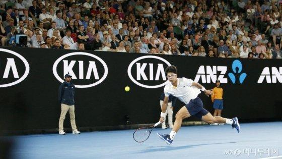 지난 1월 열린 호주오픈에서 정현 선수가 경기를 하고 있는 모습 /사진=호주오픈 홈페이지