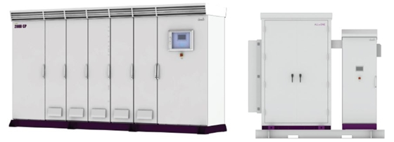 2MW UL-listed 실외용 PCS(사진 왼쪽)와 올인원 ESS/사진제공=데스틴파워<br />