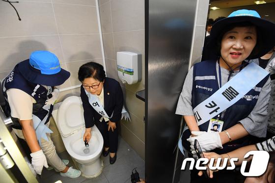 [사진]'몰래카메라 근절' 여자 화장실 점검하는 여가부 장관