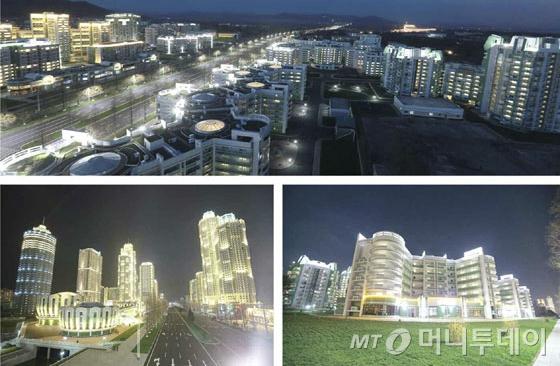 평양 여명거리의 모습. 여명거리는 고층빌딩 수십채가 즐비한 평양의 신시가지로 북한의 건재함을 선전하려 한 것으로 풀이된다.(노동신문) /사진=뉴스1