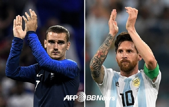 프랑스 그리즈만, 아르헨티나 메시(왼쪽부터) /AFPBBNews=뉴스1