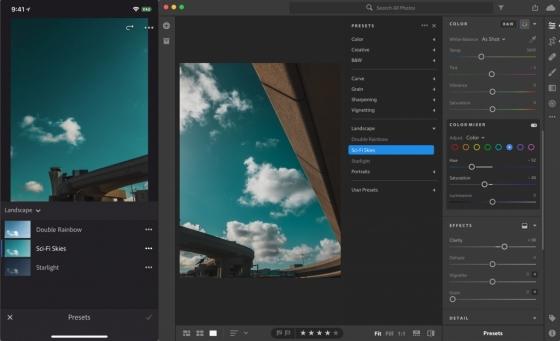 어도비가 클라우드 기반의 사진 편집 서비스 라이트룸 CC의 프리셋(preset)과 프로필(profile)을 여러 운영체제에서 동기화하는 기능을 5일 발표했다. 사진은 프리셋 동기화. /사진=어도비