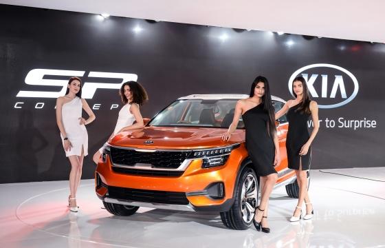 기아차가 인도 노이다시 인디아 엑스포마트에서 지난 2월 7일 개막한 '2018 델리 모터쇼'에서 인도 시장 진출을 선언하고 소형 SUV(다목적스포츠차량) 'SP' 콘셉트카(사진)를 공개했다./사진제공=기아차