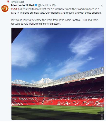 영국 프로축구구단 맨체스터 유나이티드의 공식 트위터 계정./사진=트위터.