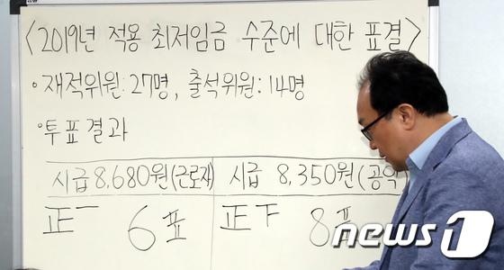 [사진]'사용자위원 불참, 근로자위원 및 공익위원 표결로 최저임금 확정'