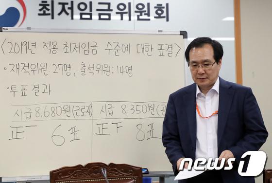 [사진]최저임금 결정 '시급 8350원'
