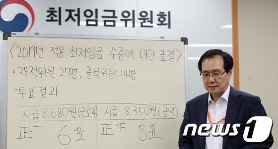 [사진] 2019년도 최저임금 '8,350원으로 결정'