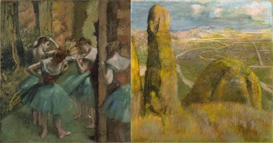 '드가: 새로운 시각' 展에 전시되는 에드가 드가의 작품들. 왼쪽부터 'Dancers'(1890), Landscape(1892)./사진제공=세종문화회관<br /> <br />