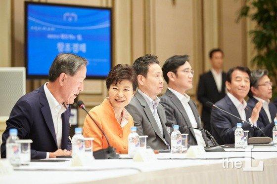 2015년 7월24일 박근혜 전 대통령 주재로 청와대에서 열린 창조경제혁신센터장 및 지원기업 대표단 간담회