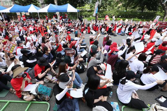 이달 7일 오후 서울 대학로에서 불법촬영 편파수사 규탄시위가 열리고 있다. /사진=뉴스1