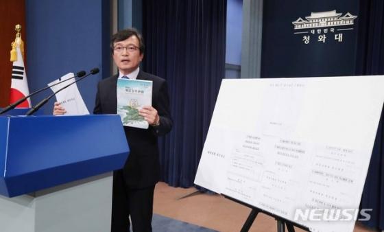 【서울=뉴시스】전신 기자 = 김의겸 대변인이 20일 오후 청와대 춘추관에서 '계엄령 문건'의 세부자료를 공개하고 있다. 2018.07.20.   photo1006@newsis.com