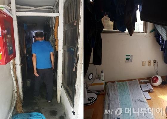 쪽방촌 거주민 류종희(68)씨가 비좁은 쪽방촌 건물 복도에 들어서고 있다. 사진 오른쪽은 방. 문을 열어둔 채 더위를 피해 집 밖으로 나섰다./사진=박가영 인턴기자