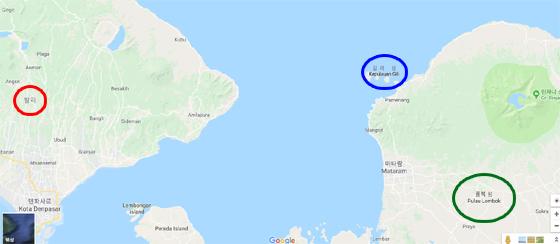 지난 5일 저녁(현지시간) 인도네시아 롬복 섬(사진 속 녹색 원) 북부 린자니 화산 인근에서 규모 6.9 강진이 발생해 인명피해가 발생했다. 롬복 섬은 지난해 방영된 tvN '윤식당' 촬영지로 알려진 길리 섬(파란색 원) 등과 함께 발리 섬(붉은색 원)에 이은 신흥 여행지로 주목받았으나 지난해부터 이어지고 있는 지진, 화산 폭발 등 자연재해로 여행 수요가 침체되고 있다./사진=구글  캡처