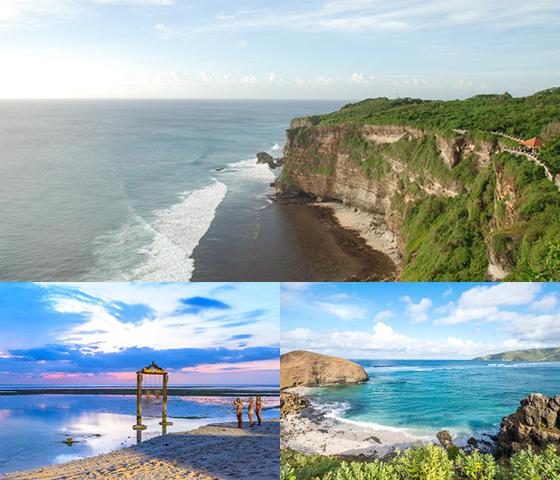 발리 섬(사진 위), 길리 섬(왼쪽 아래), 롬복 섬(오른쪽 아래) 주요 관광지 모습./사진=모두투어 홈페이지