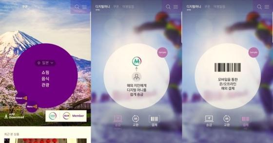 GLN 글로벌 쿠폰몰(왼쪽)과 디지털머니 송금과 결제 예시 화면(오른쪽) / 사진제공=하나멤버스 캡처
