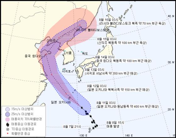 제14호 태풍 야기 예상 이동경로/사진=기사청