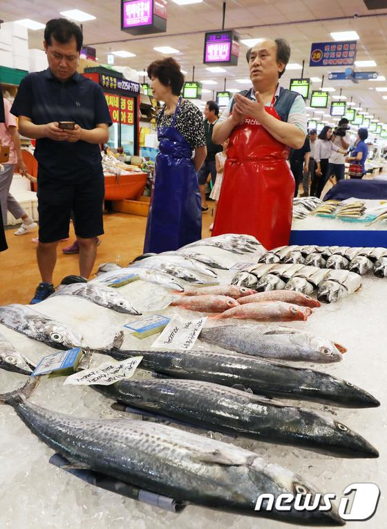 [사진]'폭염에 수산물 가격 급등'
