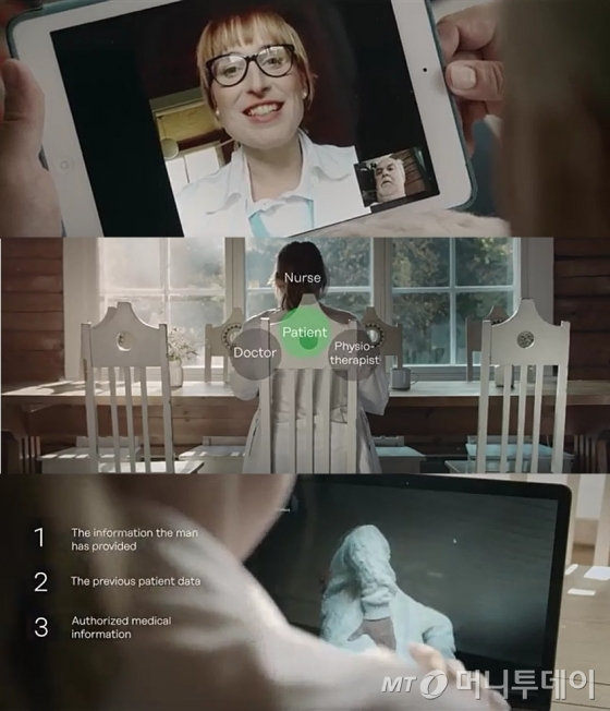 핀란드 정부가 시행 중인 'e-헬스 서비스' 이른바 '버추얼 클리닉(Virtual Clinic)' TV 광고물. 여성 의사가 화상으로 남성 환자를 진료하는 장면. 화면에 Doctor(의사), Nurse(간호사), Physiotherapist(물리치료사) 등이 Patient(환자)를 둘러싸고 보호하는 듯한 텍스트 그래픽이 연출됐다./사진=유튜브 캡쳐