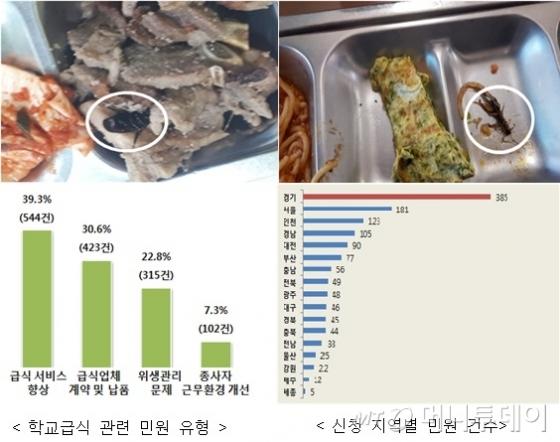 급식민원과 관련한 급식에서 벌레가 발견된 사례와 민원 현황./사진=권익위 자료 편집