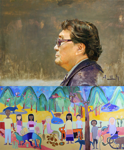 (위)이원희·권옥연, 2014, Oil on canvas, 45.5x65cm. (아래)전이수, G7 우리는 모두 가족, 2018, Acrylic on canvas, 366x190cm./사진제공=인사아트센터