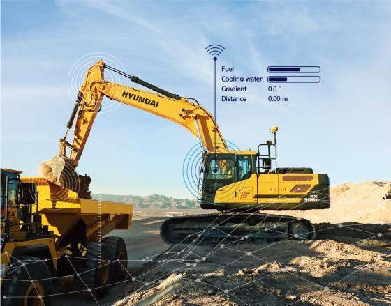 현대건설기계의 '머신 가이던스' 시스템을 탑재한 스마트 굴착기 모습./사진제공=현대건설기계