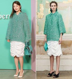 한지혜 vs 모델, 풍성한 민트빛 스웨터 패션…