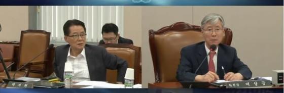 지난 11일 이은애 헌법재판관 후보자 인사청문회에서 여상규 의원과 박지원 의원이 말싸움을 벌이고 있다. /사진=팩트tv 유튜브 캡처<br />