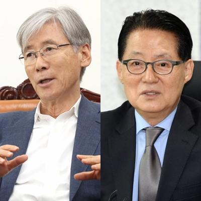 국회법사위원장인 여상규 자유한국당 의원(왼쪽)과 박지원 민주평화당 의원/사진=이기범 기자, 뉴스1