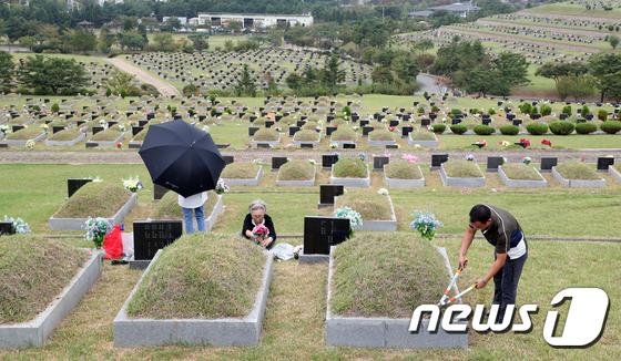 [사진]추석 앞두고 벌초하는 성묘객