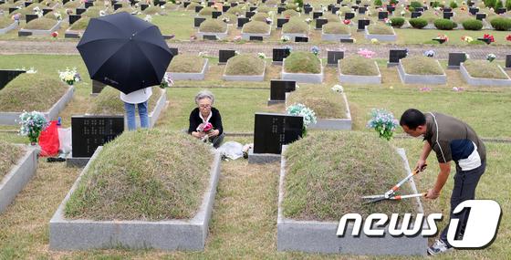 [사진]벌초하는 성묘객