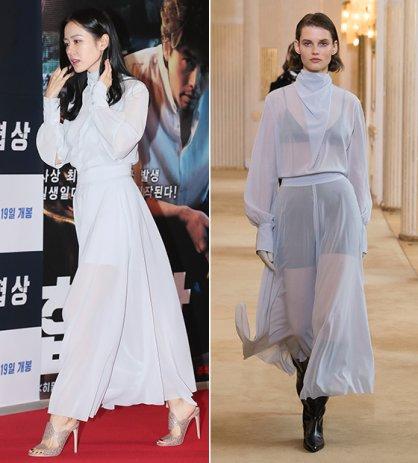 손예진 vs 모델, 우아한 '시스루 드레스' 패션 대결