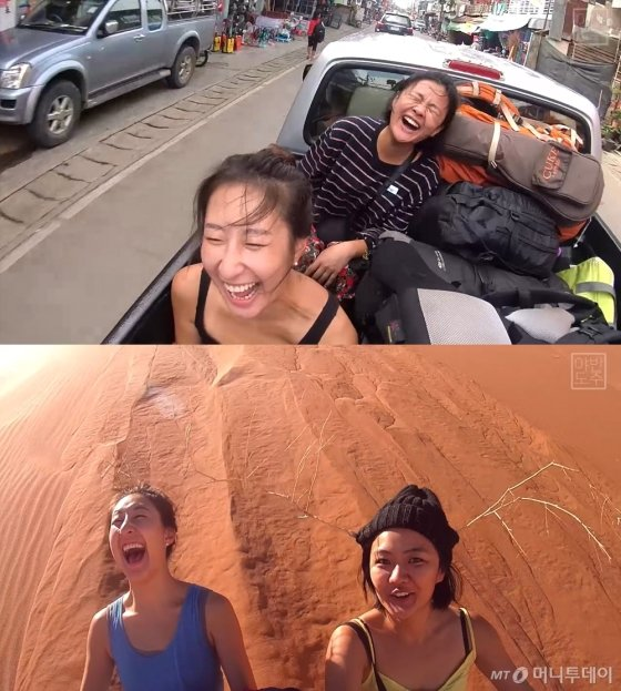 달리는 트럭 위와 사막에서 온몸으로 여행을 만끽하고 있는 위경은(왼쪽), 김연우씨. 굉장히 신나 보인다./사진 제공=김연우, 위경은씨