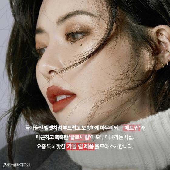 """[카드뉴스] 요즘 핫한 '가을 립'은? …""""매트 vs 촉촉"""""""