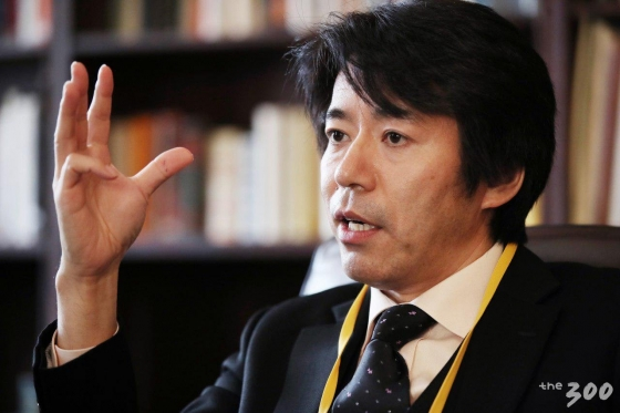 미국 뉴욕 컬럼비아대학교에서 열린 '2018 국제 평화포럼(2018 Global Peace Forum on Korea GPFK)'에 참석한 나카토 사치오 리츠메이칸대 교수가 30일(현지시간) 머니투데이미디어그룹과 인터뷰를 하고 있다. /사진=뉴시스