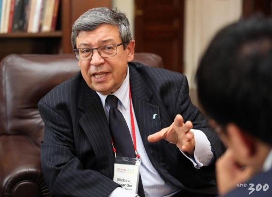 미국 뉴욕 컬럼비아대학교에서 열린 '2018 국제 평화포럼(2018 Global Peace Forum on Korea GPFK)'에 참석한 알렉산더 일리체프(Alexander Illichev) 전 UN안보리 정무조정관이 30일(현지시간) 머니투데이미디어그룹과 인터뷰를 하고 있다. /사진=뉴시스