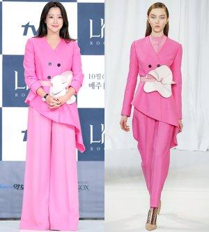 김희선 vs 모델, 핑크 슈트 패션…