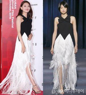 수영 vs 모델, 블랙 앤 화이트 프린지 드레스